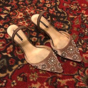 Zara Embellished Pointed Toe Slingbacks